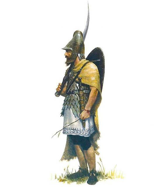 Дакийски воин, въоръжен със фалкс/ Dacian warrior with falx, by José Daniel Cabrera Peña