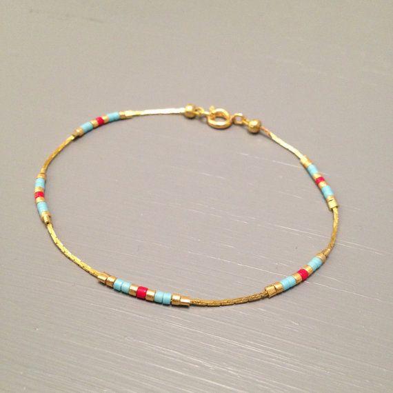 chain bracelet layering gold chain bracelet layering bracelets tiny bead bracelet gold chain  This listing is for one beaded gold plated Bracelet.