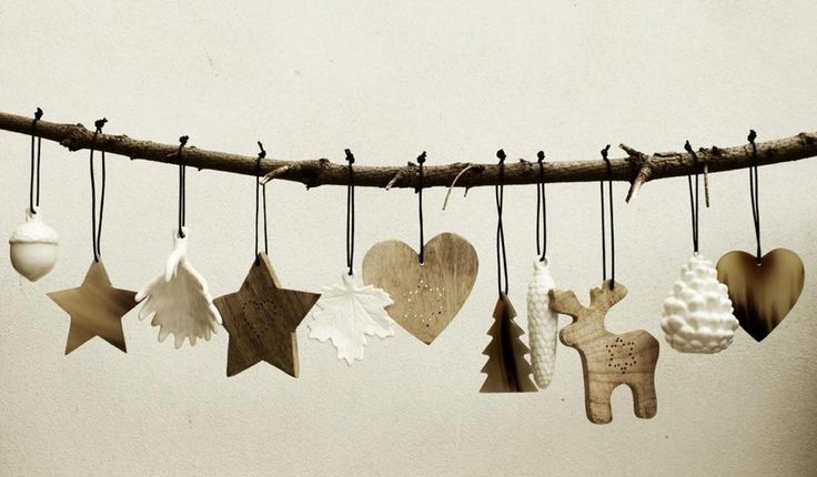 Beautiful christmas decorations wood, porcelain and horn
