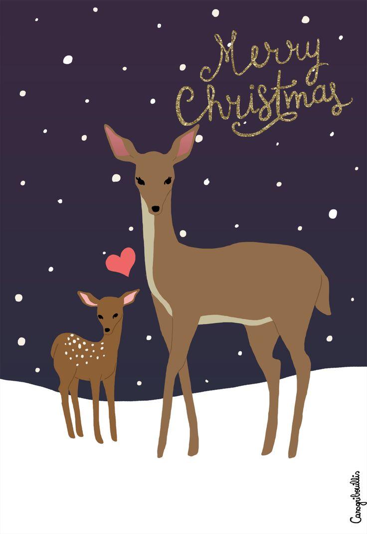 Illustration: biche - Noël (Carogribouillis)