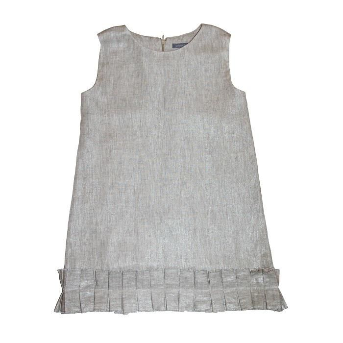 Rochie din in poleit argintiu cu bordura