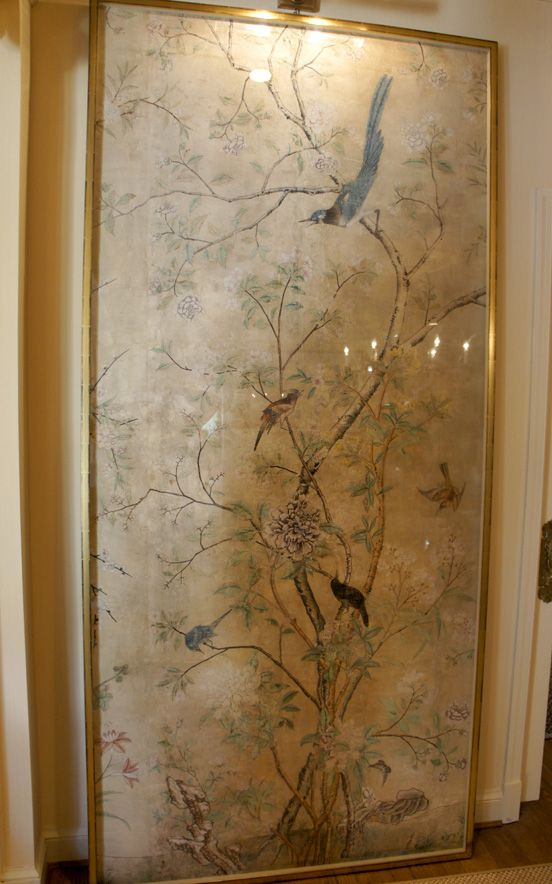 French Chinoise wall paper idea for featured wall to warm up white room. Gracie wallpaper panel framed as art...