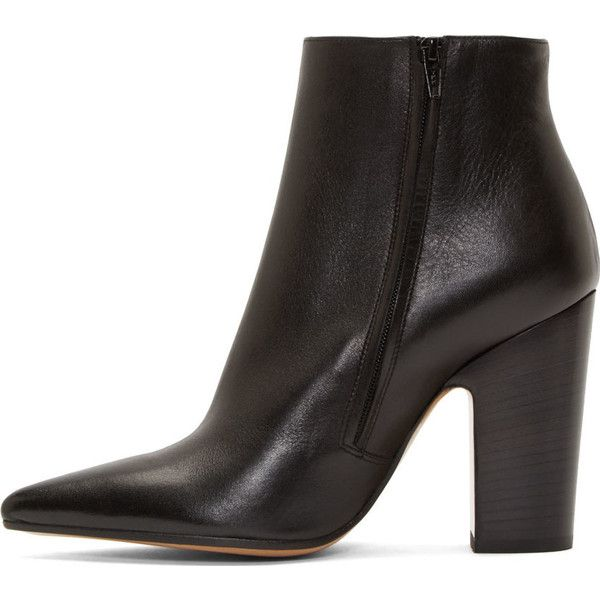 Maison Margiela Black Leather Pointed Ankle Boots (405 AUD) ❤ liked on Polyvore featuring shoes, boots, ankle booties, black leather ankle booties, short black boots, pointed toe booties, leather bootie and black ankle boots