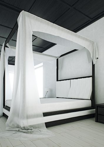 Modern Black And White Canopy Bed Wind By Mazzali: Usually Canopy Beds Are  Made In Classic Style And Absolutely Dont Fit To Modern Bedroom Design.