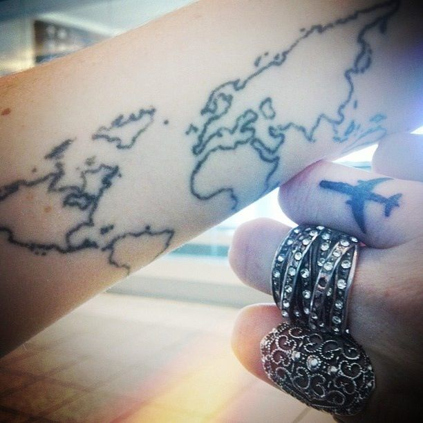 Travel Tattoo. Airplane+map.