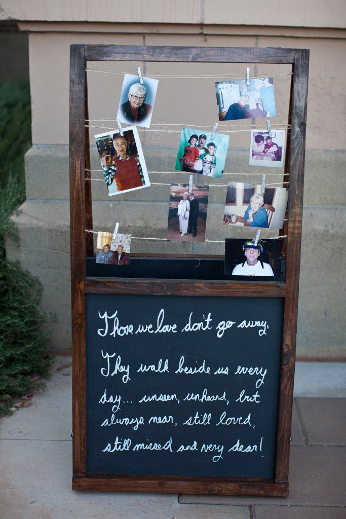 Love the idea of this memory board to display photos of loved ones who can't be there on your special day