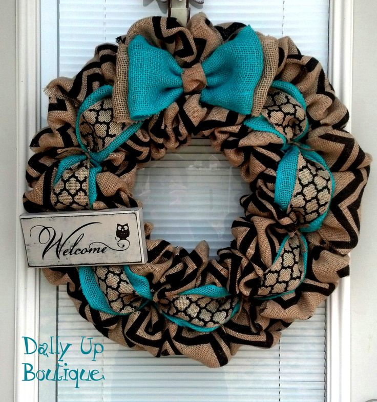 Burlap Wreath - Black and Natural Chevron - Aqua Wreath -  Home Decor -  Front Door Wreath  - Fall Wreath - Summer Wreath - Everyday Wreath by DallyUpBoutique on Etsy