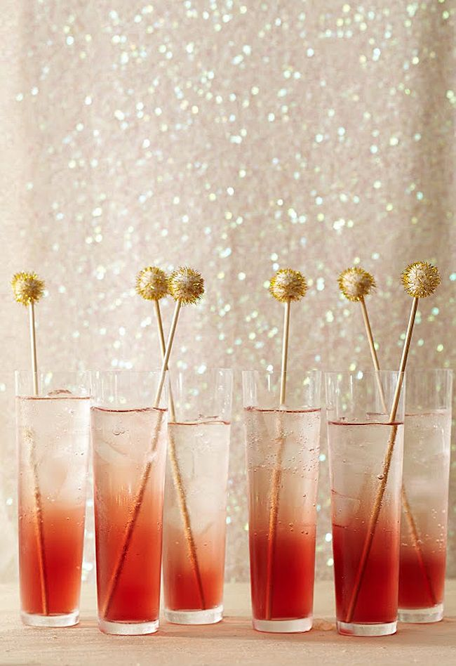 Gold tinsel ball stirrers