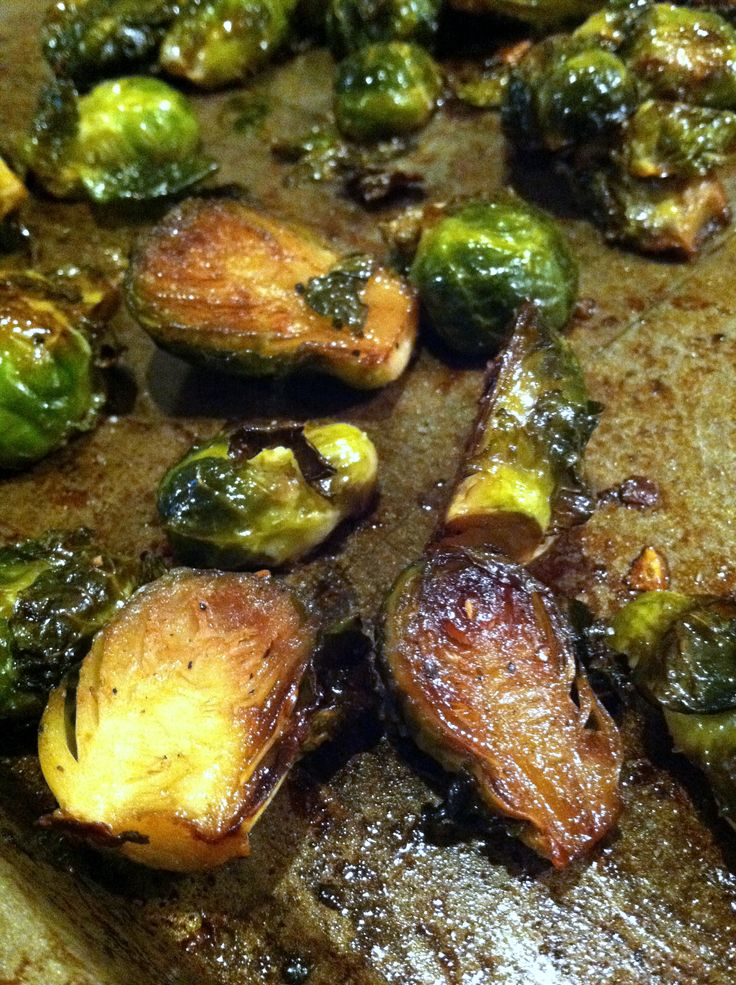 Maple Balsamic Roasted Brussels Sprouts. These were yummy and so simple. I doubled the sauce and cooked them extra long for crisp. :)