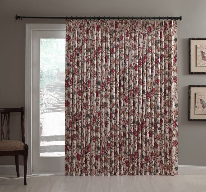 curtains for patio sliding doors | Insulated Pinch Pleated Patio Door Single Panel: Cornwall Jacobean ...