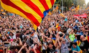 Crowds in Barcelona celebrated after Catalonia's parliament voted to declare independence from Spain