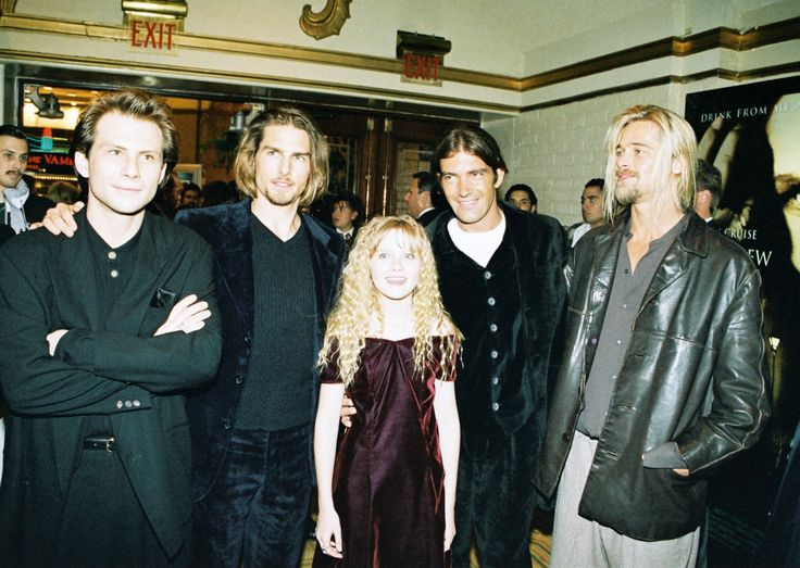 "Tom Cruise and Brad Pitt at the premiere of ""Interview with a Vampire"" (1994)"