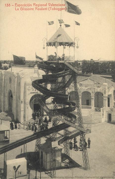 Exposición Regional Valenciana (1ª. 1909. València)   La Glissoire Roulant [Material gráfico] = (Toboggan) / Exposición Regional Valencia. — Barcelona : Thomas, [s.a.]  1fot. (tarjeta postal) ; 14 X 9 cm. — (138)