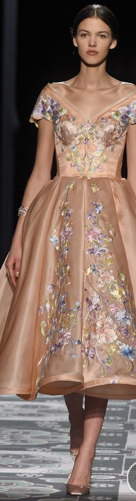 Laurence Xu ~ Haute Couture Sweetheart Neckline Peach Dress w Embroidered Floral Details 2015 I don't know what I like about this, but I really like it.