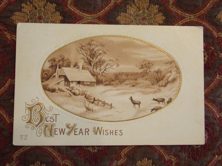 Vintage Postcard Best New Year Wishes, Winter Cabin Scene With Deer | eBay