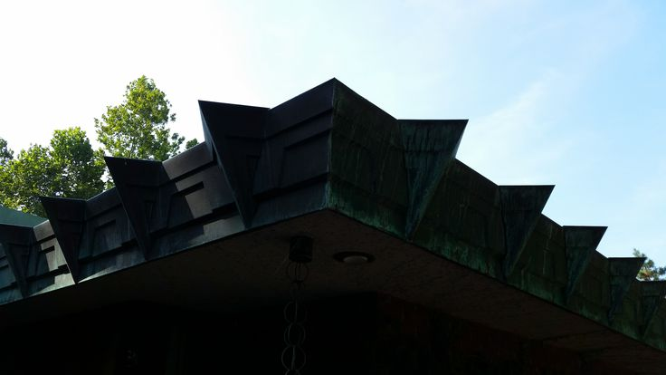 Detail of the custom copper fascia on the Christian House aka Samara designed by Frank Lloyd Wright located in West Lafayette, Indiana.