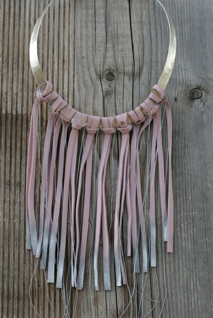 Statement Necklace - Tribal Bib Necklace - Fringe Necklace - Pink Necklace - Leather Fringe Necklace -Metal Colar Necklace - Colar Choker by EleannaKatsira on Etsy
