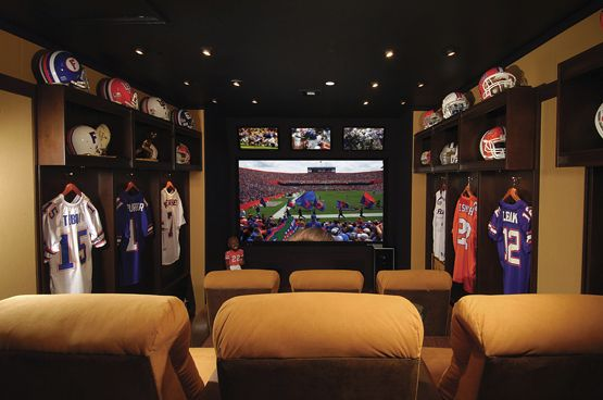 perfect room for my future husband haha man cave... with an added bar behind the chairs San Francisco 49ers decor