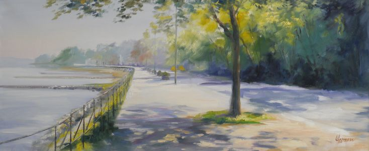 Rheinufer im Frühling bei Bonn Bad Godesberg, Blick nach Süden, Richtung Rheinhotel Dreesen. Gemälde in Öl auf Leinwand von Kunstmalerin Ute Herrmann.