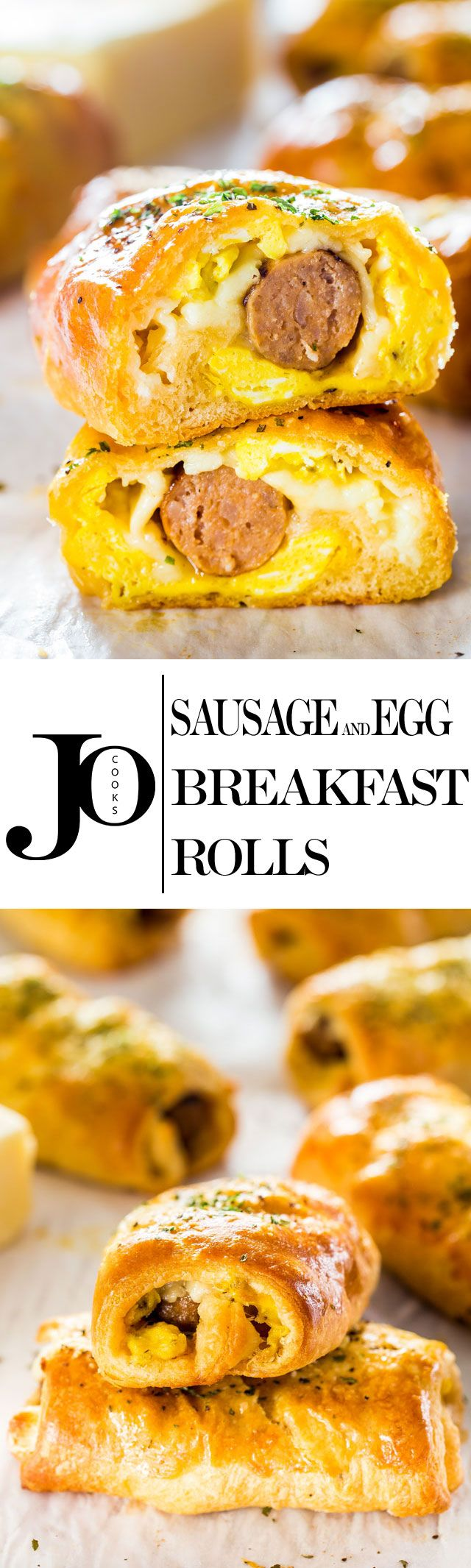 Sausage and Egg Breakfast Rolls - easy and quick to make grab-and-go-breakfast. Turkey breakfast sausages wrapped in crescent rolls with scrambled eggs and cheese. (Crescent Roll Breakfast Recipes)