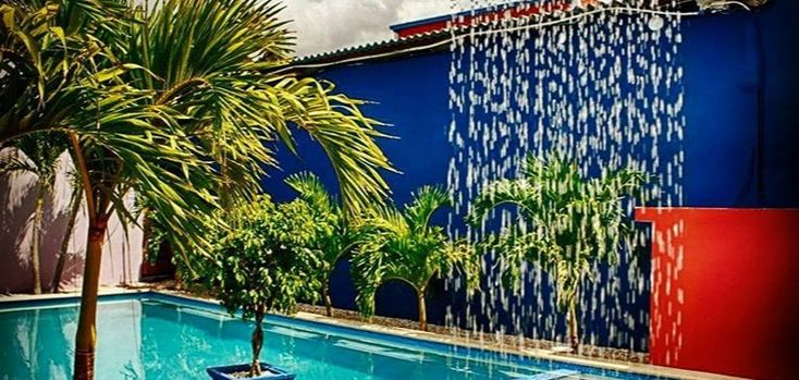 A hostel with a waterfall? Only in Curacao!