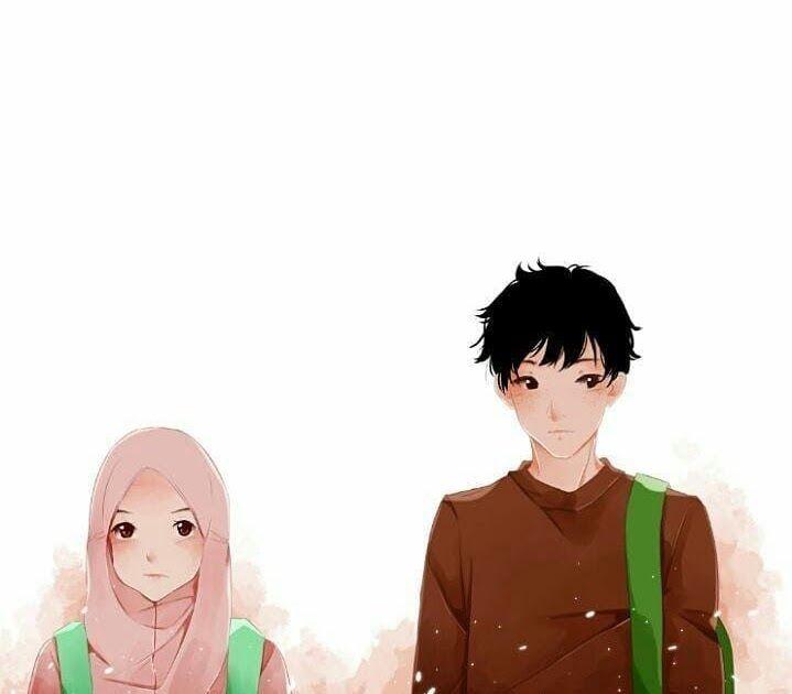 Gambar Kartun Muslimah Gambar Anime Couple Terpisah Keren ...