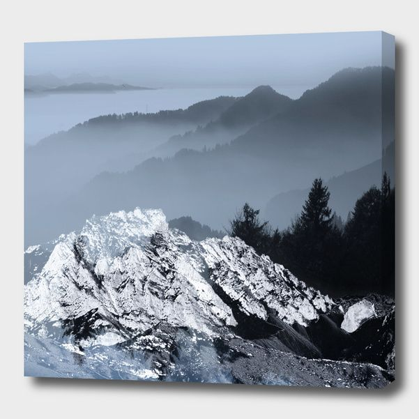 Discover «FOGGY BLUE MOUNTAINS», Numbered Edition Canvas Print by Pia Schneider - From 45€ - Curioos #canvas #art #mountains #landscpae #blue #curioos #artprints #giftidea #winter #xmas #piaschneider #kunst #promo