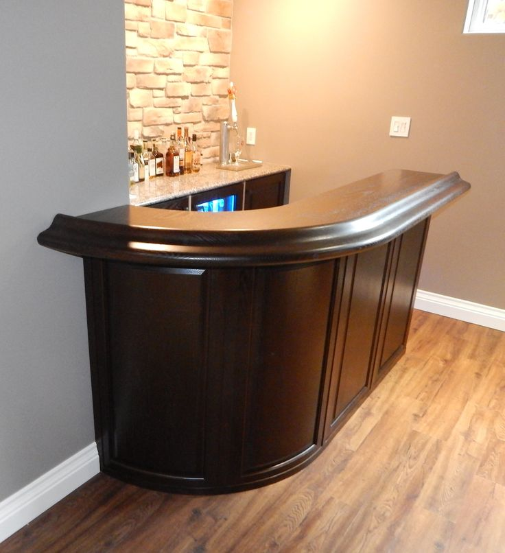 Oak Curved Bar With Front Panels And Solid Top Rail