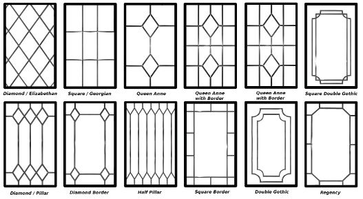 We offer a wide range of decorative leaded glazing designs that give you the chance to personalise your home even more