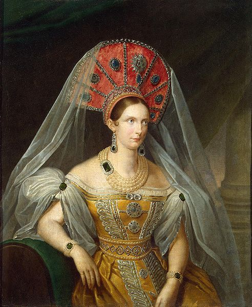 Empress Alexandra Feodorovna, born July 13, 1798, wife of Tsar Nicholas I.   Portrait by A. Maliukov, 1836.