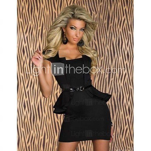 Sexy Fekete Női Rövid ujjú kifinomult irodai ruhák Belt - USD $15.99