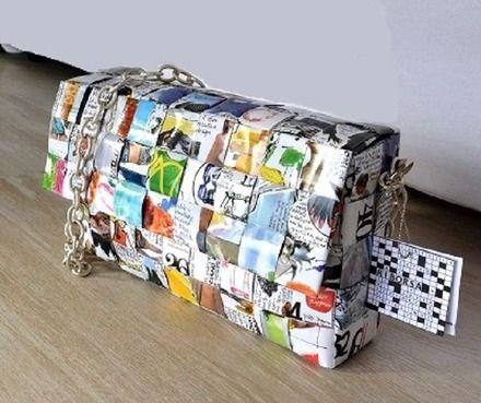 """Si avvicina la primavera e con essa la voglia di colore, di freschezza, proprio come questa borsa realizzata in carta riciclata, selezionando particolari pagine della rivista """"Vogu - 13362061"""