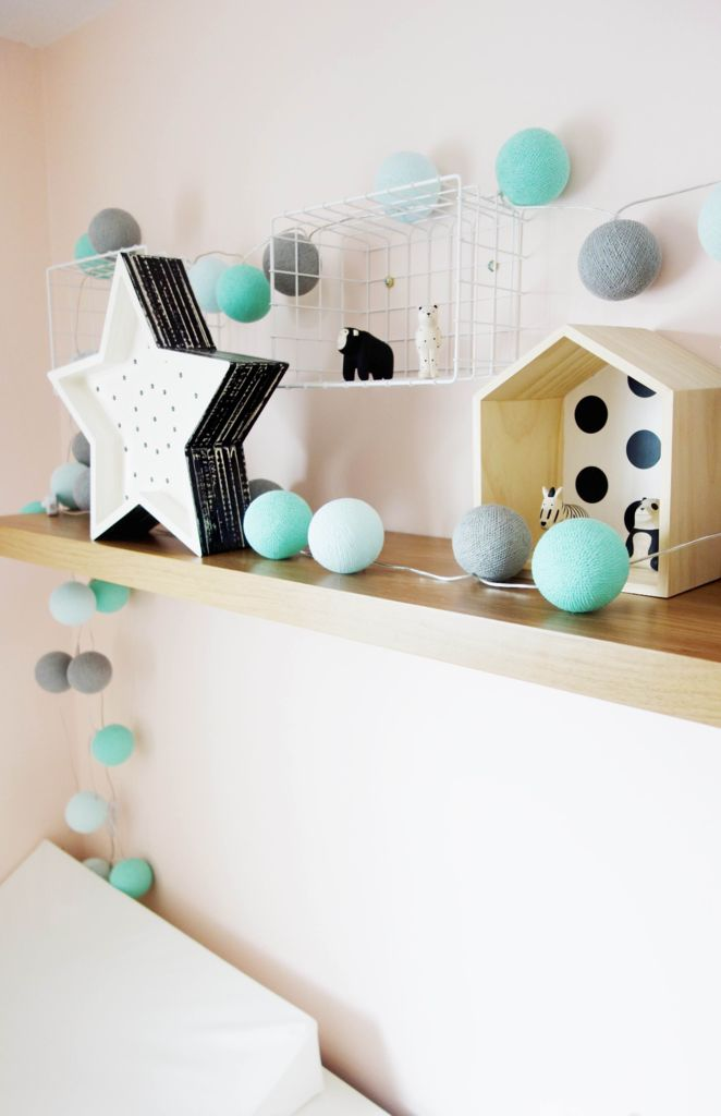 TMN + Cotton Ball Lights - Mint/Grey - The Modern Nursery