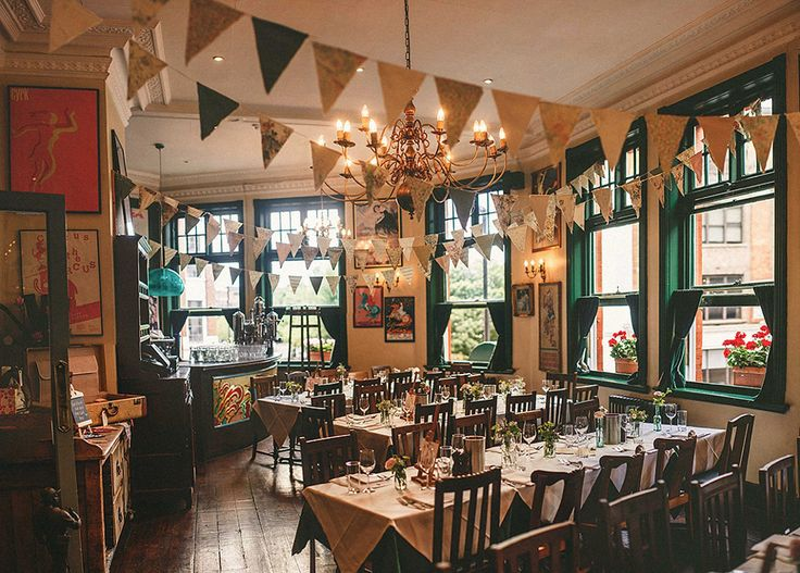 Pub decorated for a Vintage Inspired East London Wedding Reception | Photography by http://www.mikiphotography.info/