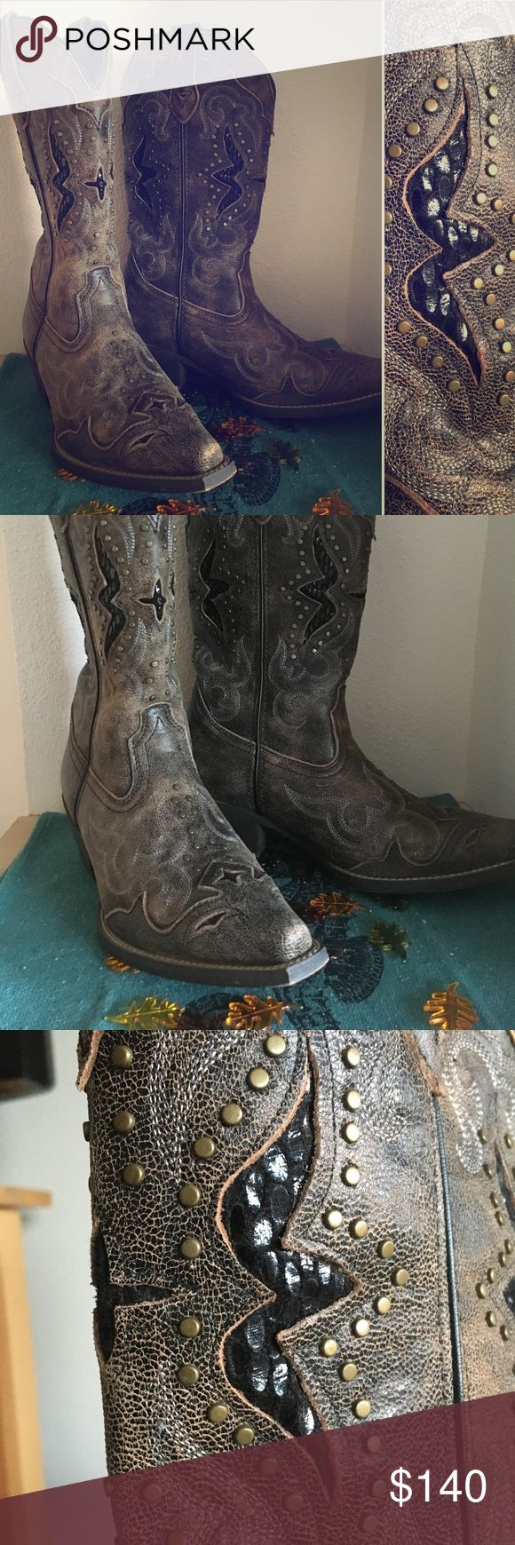 """Laredo boots Mocha-colored Loredo high-calf cowboy boots with brass adornments and black peek-a-boo shiney """"scales"""". About a 1 1/2"""" heel. EEUC. Worn 1x in a grass field. Super comfortable. loredo Shoes Heeled Boots"""