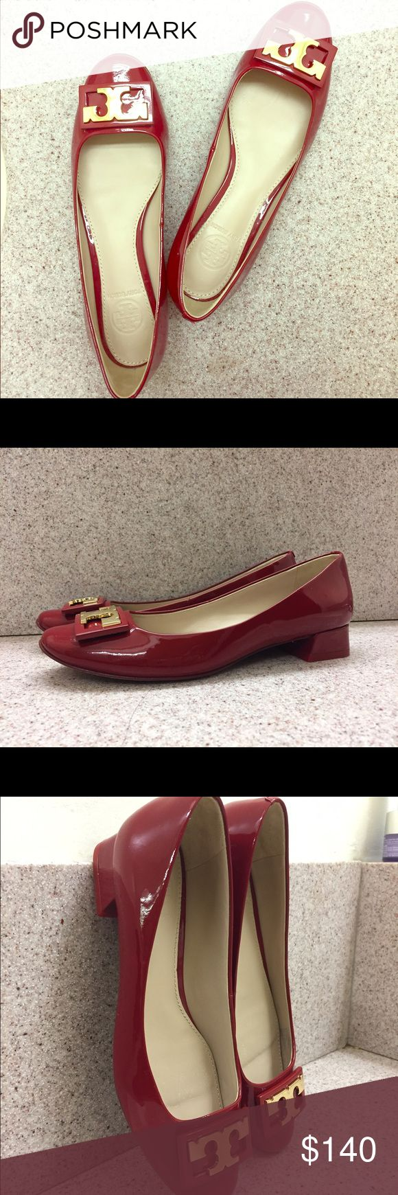 """Gigi pump Crafted in patent leather, this pump is a perfect match for both casual and business styles. The heel is about 2.5"""", an ideal height for day to evening. And the width is a little bit narrower than average, just like other pumps. I have worn it for only twice, and due to the fact that I'm traveling in a few months, I would really appreciate it if someone likes this pump and would love to take it. Tory Burch Shoes Flats & Loafers"""