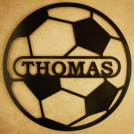 Sports Themed Name Sign- http://www.alabamametalart.com/products/SPORTS-themed-personalized-SOCCER-BALL-name-sign.php