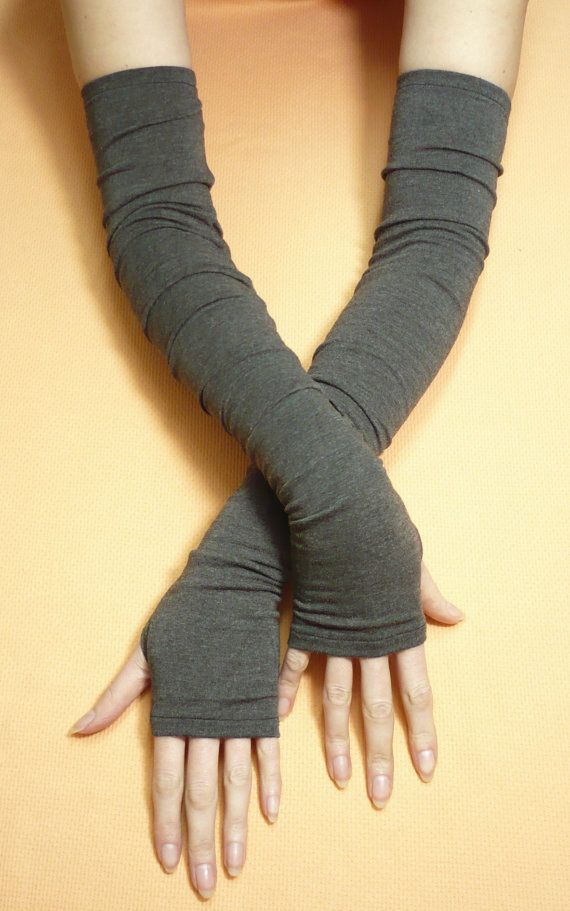 Need these for fall! Extra long Dark Grey Armwarmers with Thumb Holes, Jersey Fingerless Gloves in Boho Style, Tribal, Wicca, Dance, Tattoo Covers