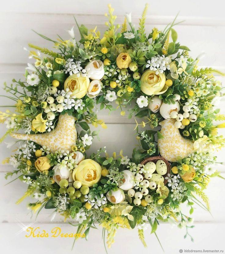 """Купить Веночек """"Романтичная весна""""Забронирован для Натальи - Пасха, цветы, весна, белый, гостиная, зеленый, подарок"""
