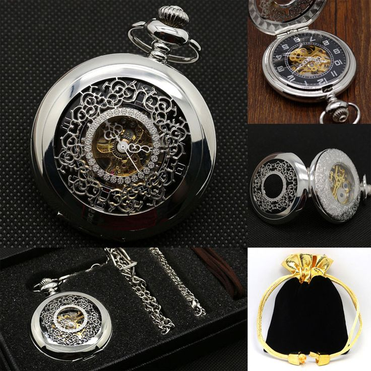 Luxury Silver Stainless Steel Necklace Pendant Hollow Case Automatic Mechanical Pocket Watch Necklace Hand Wind Gift Box Bag