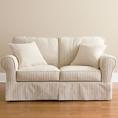 Friday Stripe Slipcovered Sofa Tan