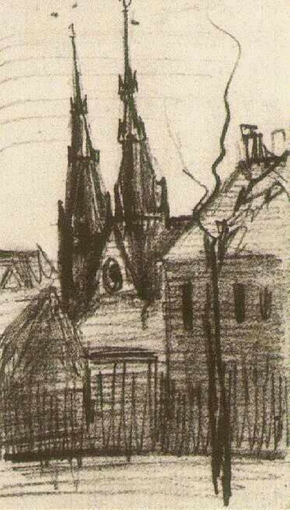 St. Catharina's Church at Eindhoven, 1885, Vincent van Gogh Medium: pencil on paper