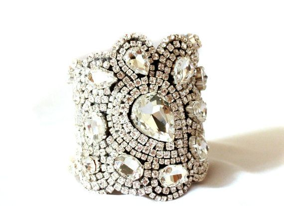 Wide Bridal Cuff, Encrusted Crystal Rhinestone Cuff, New Classic All Swarovski Crystal Old Hollywood Rhinestone Cuff on Etsy, £214.64