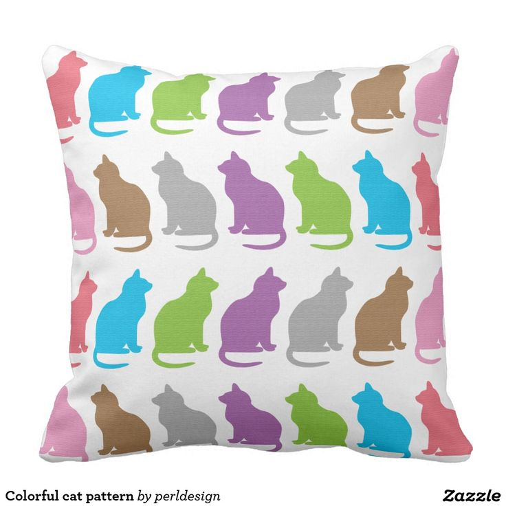 Colorful Cat Pattern Throw Pillow Zazzle Ca Cat