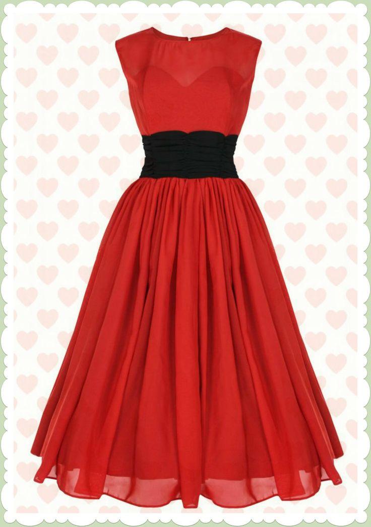 Lindy Bop 50er Jahre Ballkleid Chiffon Prom Swing Kleid - Serena - Rot