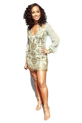 Alicia Keys golden superstar dress