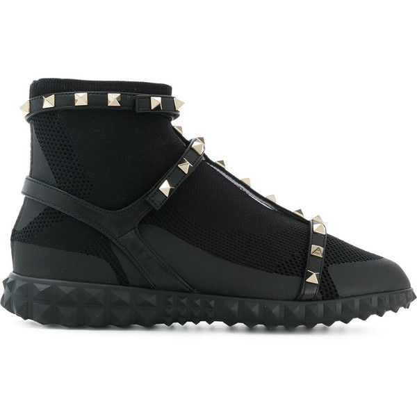 Valentino Rockstud sneakers ($1,190) ❤ liked on Polyvore featuring shoes, sneakers, black, t-strap flats, black leather shoes, black shoes, black strappy shoes and black leather sneakers