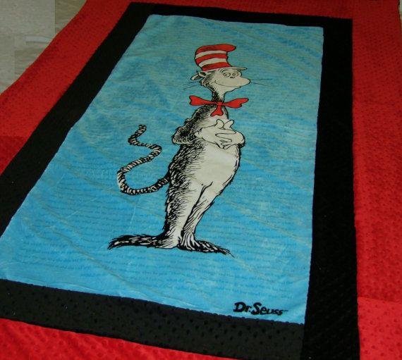 CAT in the HAT Minky Blanket Twin Size Ships by tarascozycreations