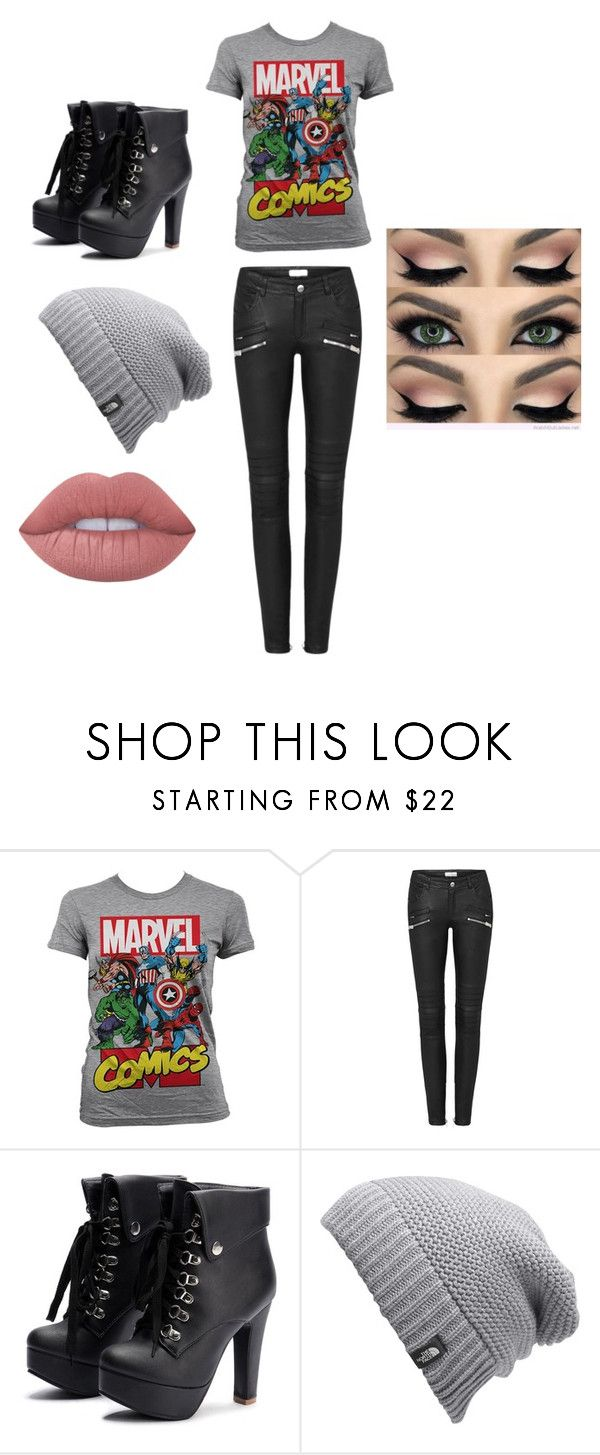 """""""Untitled #2"""" by dark-soul335 ❤ liked on Polyvore featuring Marvel Comics, The North Face and Lime Crime"""