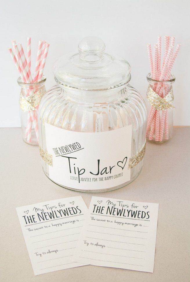 Newlywed Tip Jar Printable http://www.confettidaydreams.com/newlywed-tip-jar/ After the wedding you'll be able save these messages in a folder, scrapbook, album or keepsake box which you can lovingly revisit on every wedding anniversary for the rest of your lives.